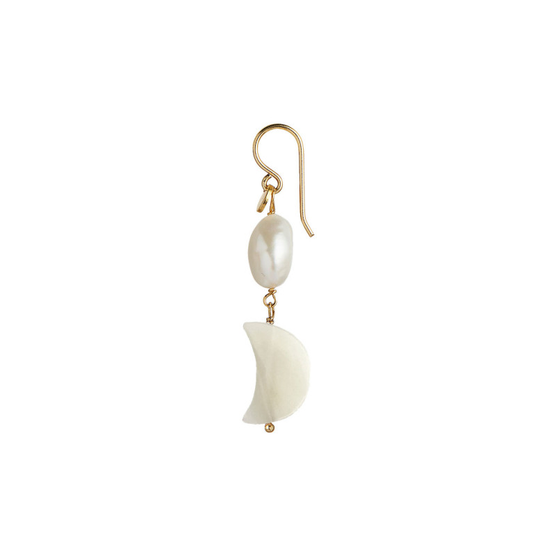 Stine A Örhänge, Midnight Moon, Guld Midnight Moon and Baroque Pearl Earring Gold